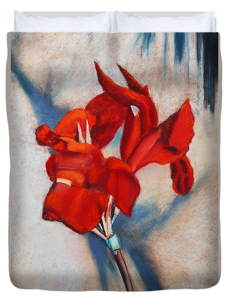 Duvet Cover featuring the painting Canna Fire by M Diane Bonaparte
