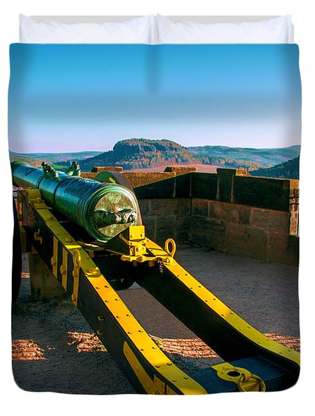 Cannon At The Fortress Koenigstein Duvet Cover