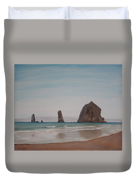 Cannon Beach Haystack Rock Duvet Cover