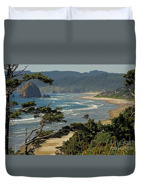 Duvet Cover featuring the photograph Cannon Beach Seascape by Nick  Boren