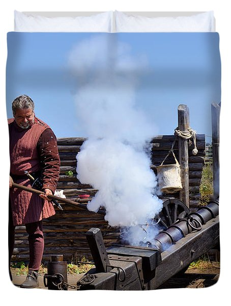 Cannon Firing At Fountain Of Youth Fl Duvet Cover by Christine Till