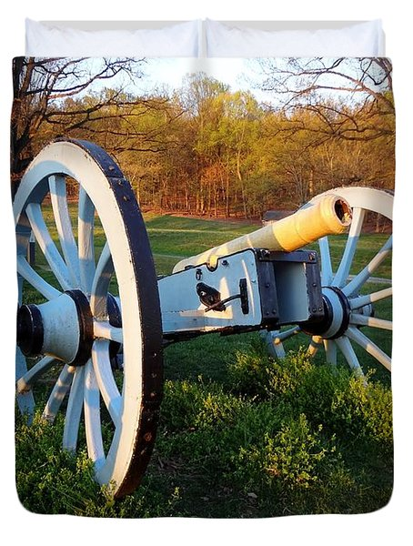 Duvet Cover featuring the photograph Cannon In The Grass by Michael Porchik