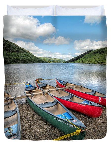 Canoe Break Duvet Cover by Adrian Evans