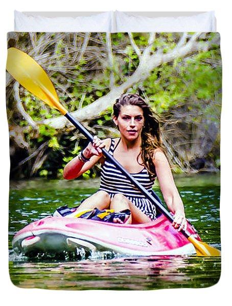Canoe For Girls Duvet Cover by Sotiris Filippou