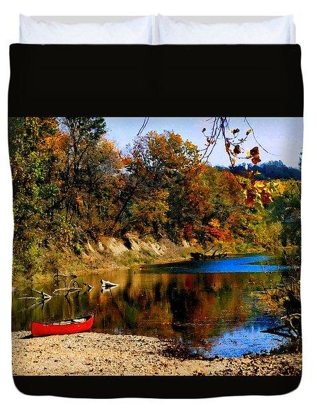 Canoe On The Gasconade River Duvet Cover