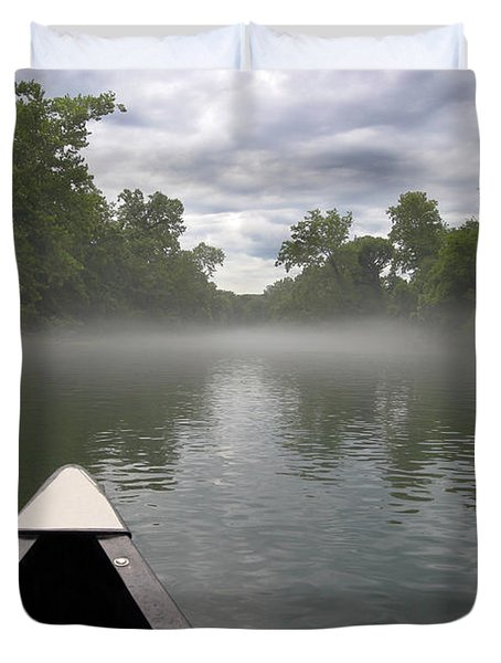 Canoeing The Ozarks Duvet Cover by Adam Romanowicz