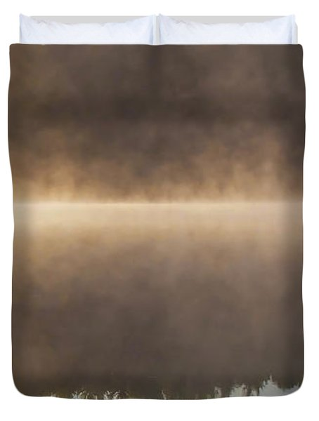 Canoeist On A Golden Misty Morning Duvet Cover by Barbara McMahon