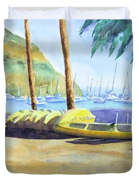 Canoes And Surfboards In The Morning Light - Catalina Duvet Cover