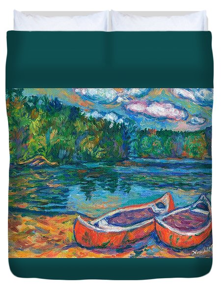 Canoes At Mountain Lake Sketch Duvet Cover