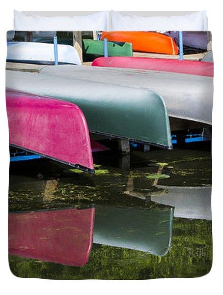 canoes - Lake Wingra - Madison  Duvet Cover