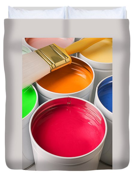 Cans Of Colored Paint Duvet Cover by Garry Gay