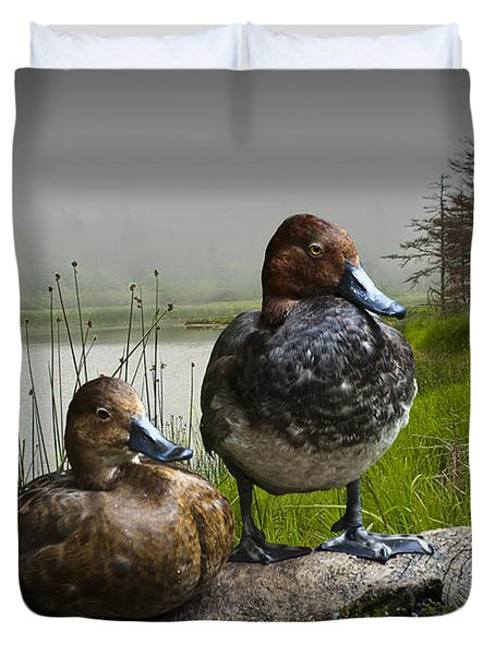 Canvasback Duck Pair By A Pond Duvet Cover