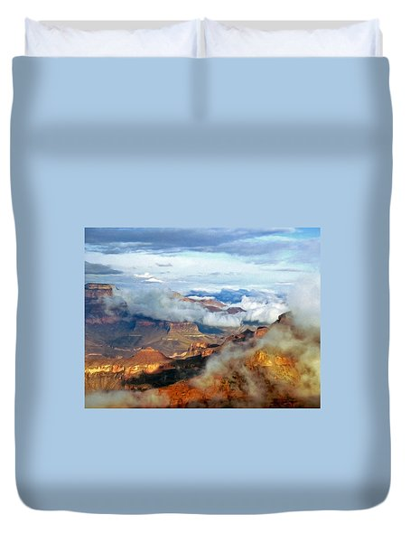 Duvet Cover featuring the photograph Canyon Clouds by Alan Socolik