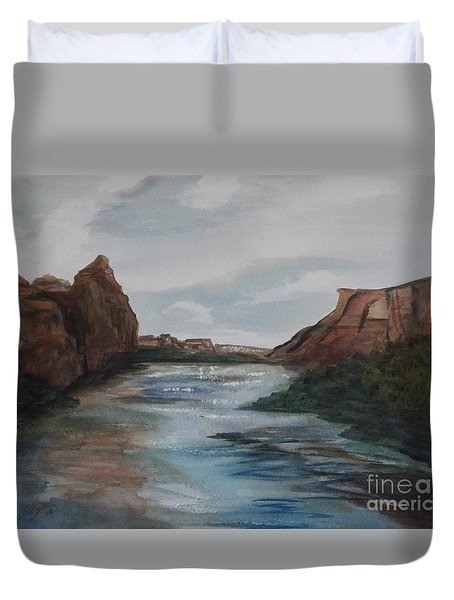 Duvet Cover featuring the painting Canyon De Chelly by Ellen Levinson