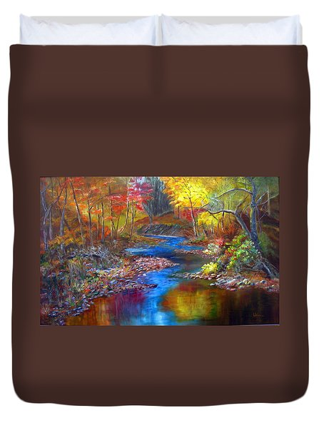 Duvet Cover featuring the painting Canyon River by LaVonne Hand