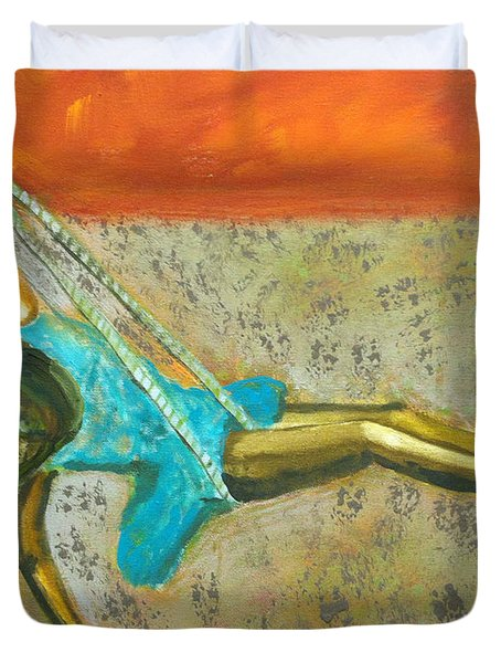Duvet Cover featuring the painting Canyon Road Sculpture by Keith Thue