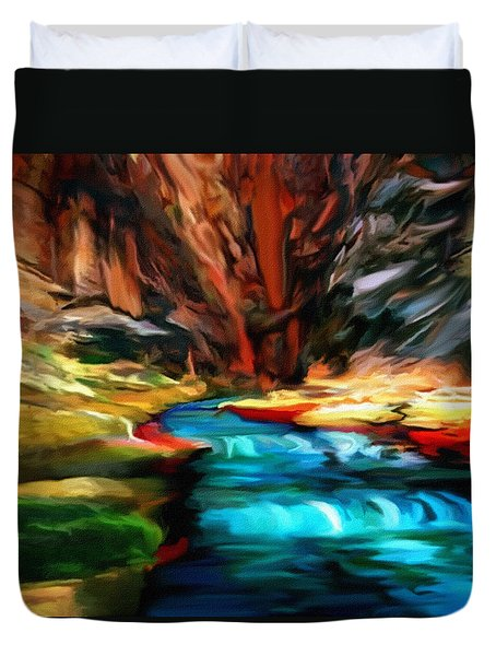 Canyon Waterfall Impressions Duvet Cover