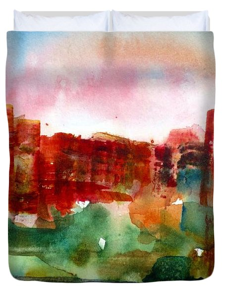 Duvet Cover featuring the painting Canyonlands 03 by Anne Duke