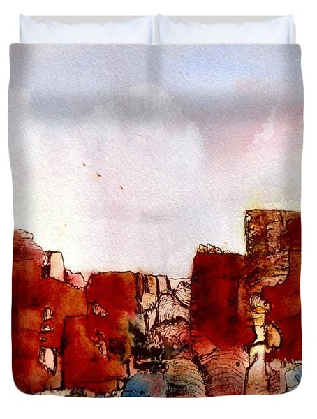 Duvet Cover featuring the painting Canyonlands by Anne Duke