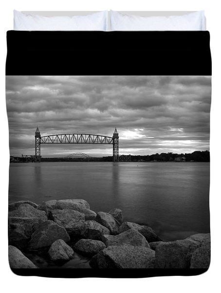Cape Cod Canal Train Bridge Duvet Cover by Amazing Jules