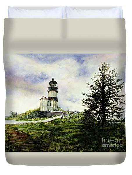 Cape Disappointment Lighthouse On The Washington Coast Duvet Cover