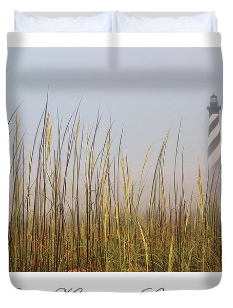 Cape Hatteras Lighthouse In The Fog Duvet Cover by Tony Cooper