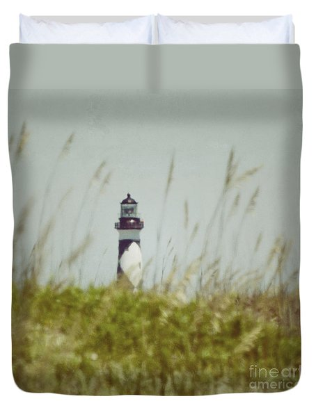 Cape Lookout Lighthouse - Vintage Duvet Cover by Kerri Farley