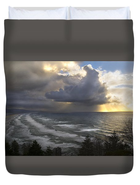 Sunset At Cape Lookout Oregon Coast Duvet Cover
