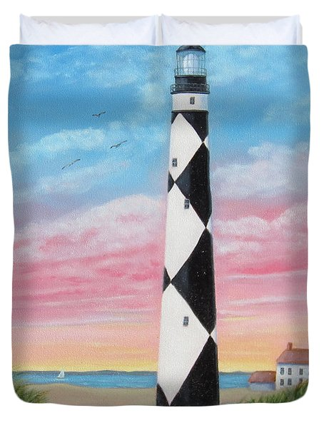 Duvet Cover featuring the painting Cape Lookout Sunset by Fran Brooks