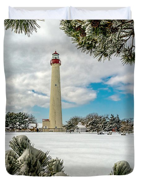 Cape May Light Thru Snowy Trees Duvet Cover