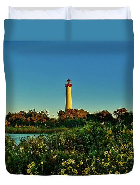 Cape May Lighthouse Above The Flowers Duvet Cover
