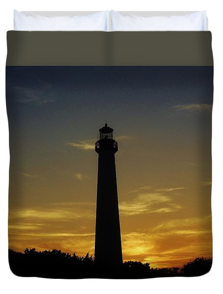 Cape May Lighthouse At Sunset Duvet Cover by Ed Sweeney