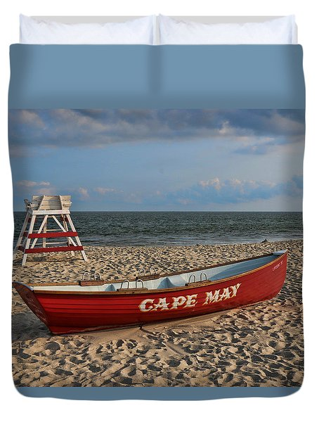 Cape May N J Rescue Boat Duvet Cover