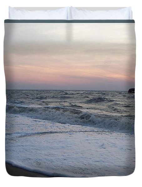Cape May Sunset Beach Nj Duvet Cover by Eric  Schiabor