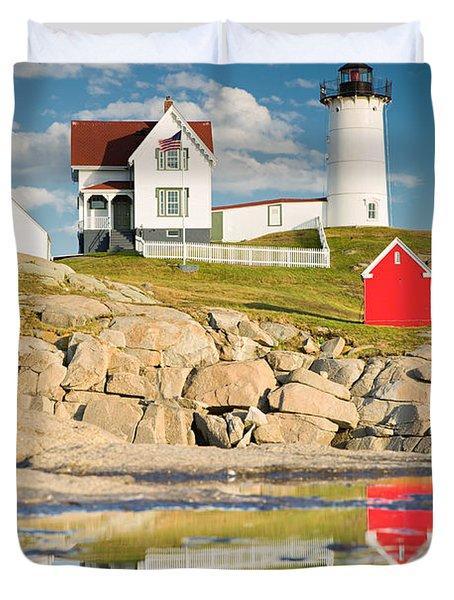 Cape Neddick Light  Reflections Duvet Cover