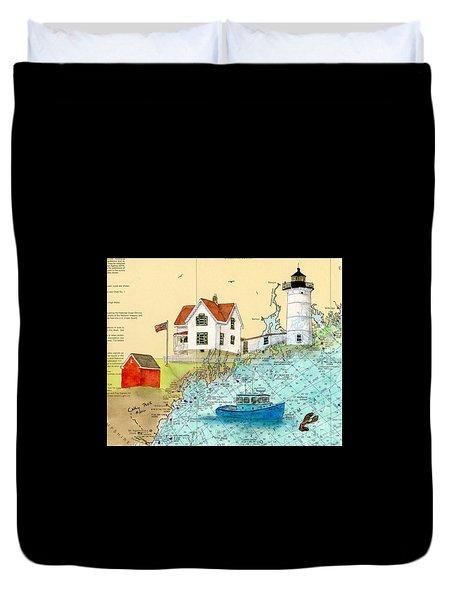 Cape Neddick Lighthouse Me Nautical Chart Map Art Cathy Peek Duvet Cover by Cathy Peek