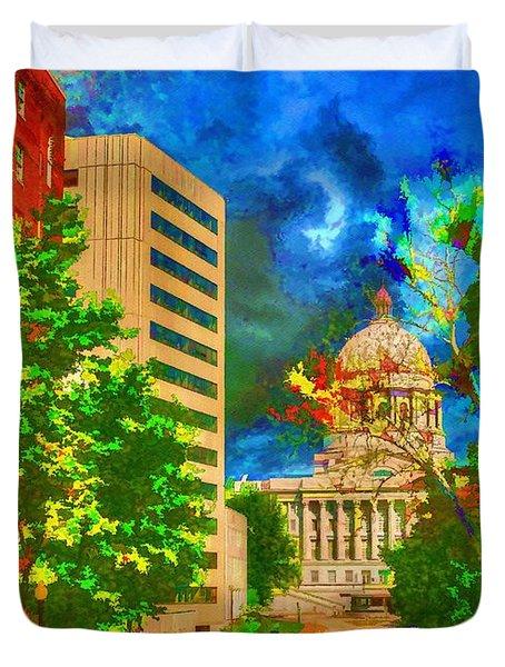 Capital - Jefferson City Missouri - Painting Duvet Cover by Liane Wright