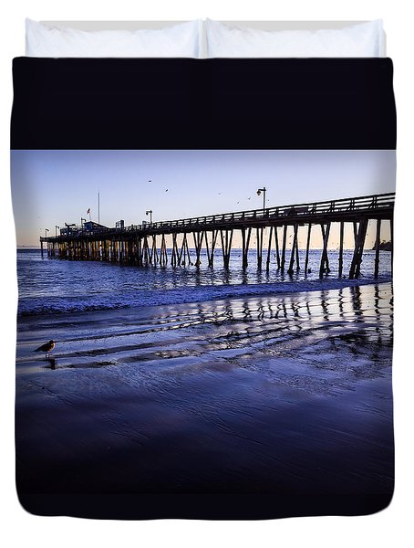 Capitola Wharf Reflections Duvet Cover
