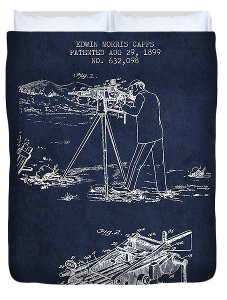 Capps Machine Gun Patent Drawing From 1899 - Navy Blue Duvet Cover by Aged Pixel