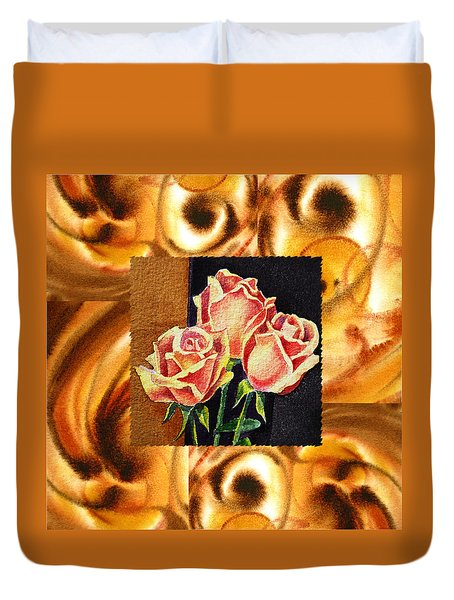 Cappuccino Abstract Collage French Roses Duvet Cover by Irina Sztukowski