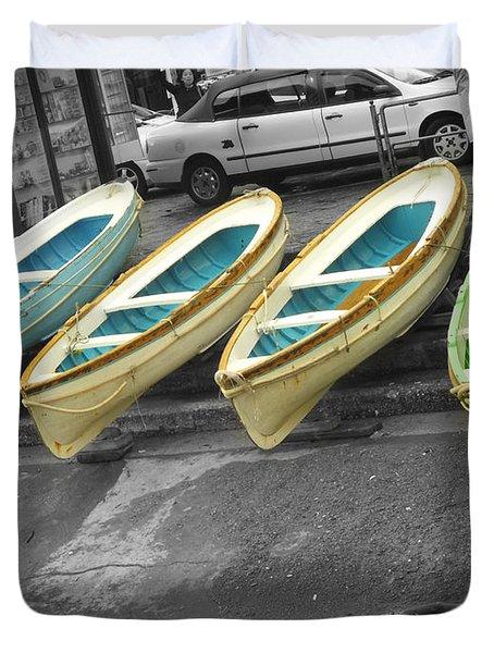 Capri Italy Aqua Green Boats Duvet Cover