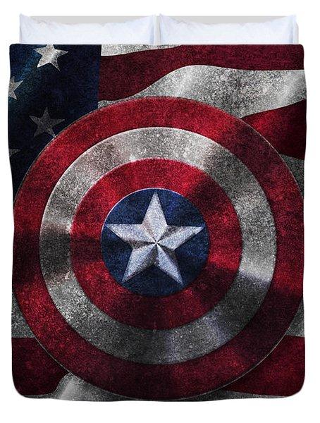 Captain America Shield On Usa Flag Duvet Cover by Georgeta Blanaru