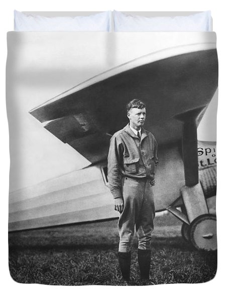 Captain Charles Lindbergh Duvet Cover by Underwood Archives