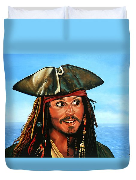 Captain Jack Sparrow Painting Duvet Cover