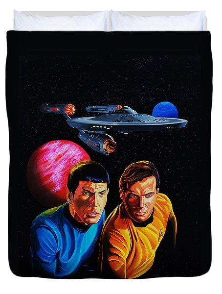 Captain Kirk And Mr. Spock Duvet Cover by Robert Steen