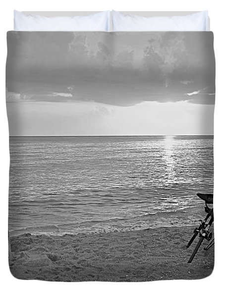 Captiva Sunset Black And White Duvet Cover