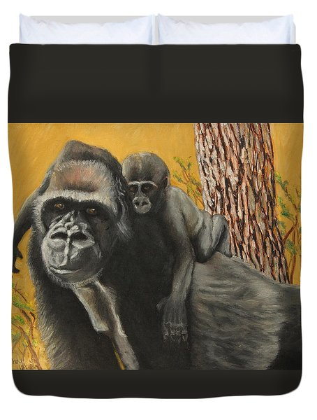 Duvet Cover featuring the painting Captured Bernigie by Jeanne Fischer