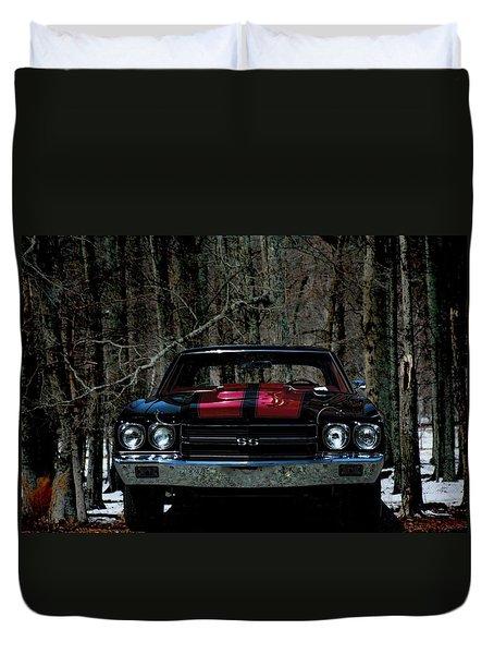 Car Art Chevy Chevelle Ss Hdr Duvet Cover by Lesa Fine