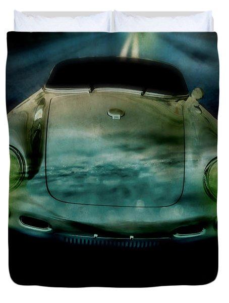 Car Chase At Night Duvet Cover