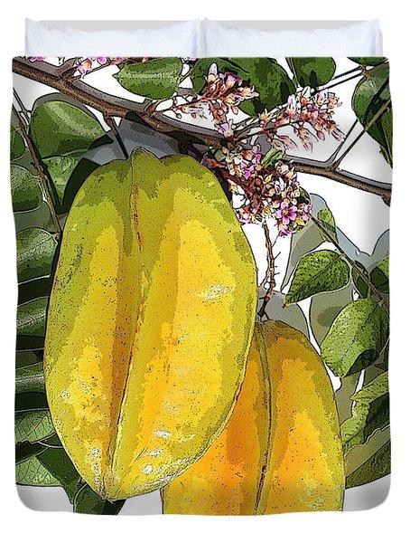 Carambolas Starfruit Two Up Duvet Cover by Olivia Novak